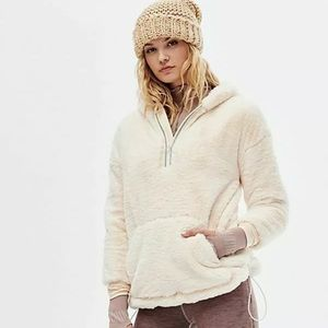 Free People SM Off The Record Cream Plush Hoodie